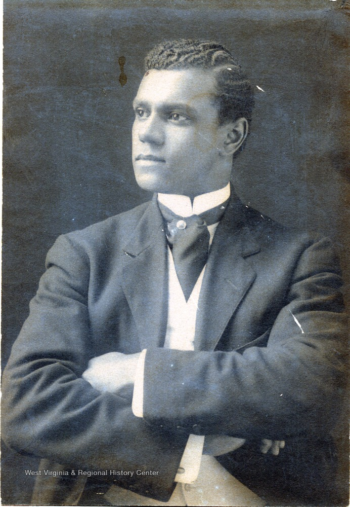 Portrait of a male African-American student from Storer College, Class of 1901.
