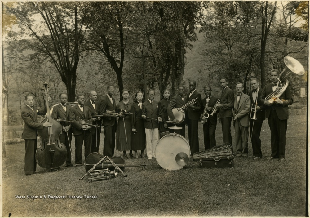 Group portrait of the African-American orchestra at Storer College.
