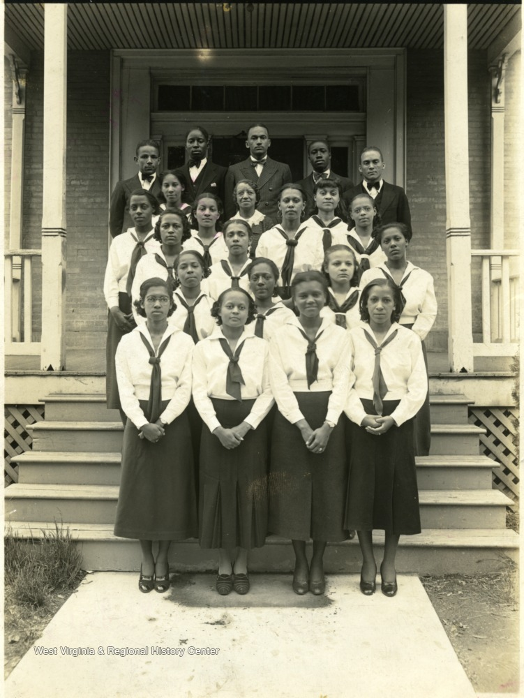 Group portrait of the Glee Club in uniform at Storer College, a school for African-Americans.
