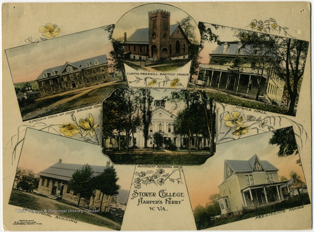 Top row from left to right: Lincoln Hall and John Brown's Fort, Curtis Freewill Baptist Church, and Myrtle Hall. In the center is Anthony Memorial Hall. Bottom row left is Industrial Building and bottom row right is the Presidents House.