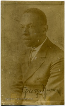 Portrait of African-American professor and coach, George Newman.  He graduated from Lincoln University with a degree in Pharmacy, and was a Professor of Chemistry and Biology at Storer College.  He was also the head football coach.