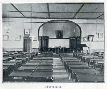 Interior view of a classroom in Chapel Hall.