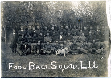 Group portrait of an African-American football team on a postcard addressed to Professor Henry McDonald, Harpers Ferry, W. Va.  It says, 'This is to remind you that I appreciate our ex-Storer captain, by sending you his wonderful form and his impregnable machinery. Victor W. DeShields.'  The card also identifies the captain as, 'Layton J. Wheaton in 'cits' and white shirt.'