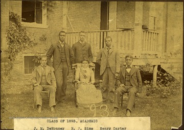 Pictured: 'J. M. DeHonney, R. P. Sims, Henry Carter, W. P. Crump, Stella James, J. C. Gilmer.'