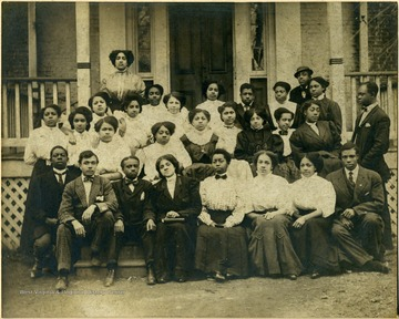 Group shot of students on front steps of building at Storer College.