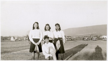 Miss Storer College, Myrtle Belcher with Selma Nickens, Mildred Matney, and Ruth Rush.