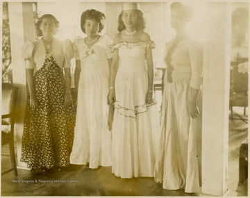 First girl standing on left is Marion Virginia Johnson Reeler, Class of 1947, others unidentified.