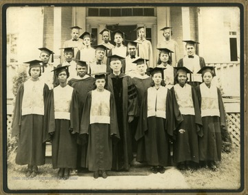 Group photo of Storer College class of 1938 with Pres. McDonald in the middle.