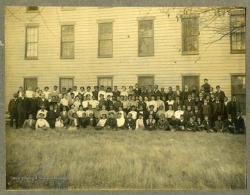 Group photo of students and faculty of Storer College in front of building.