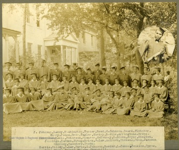Group photo of Storer College graduates, class of 1927, in caps and gowns. Back Row: J. Johnson, Lacey, Washington, Turner, Reed, M. Johnson, Beard, Fletcher, Murry, Jones, Drew, Taylor, Markey, Battle, Arrington, A. Brown. Middle Row: Robinson, Lewis, Peterson, Spencer, McKenney, H. Brown, Pryar, Shelton, Shirley, Saunders, Duson. Front Row: Harris, Holley, C. Law, Davis, E. Johnson, Reede, S. Jones, Jenkins, Cyrus, Kana, White, Brooks, Wilson, Churchill. Absent: Lillian Ashe & Chas Spencer. Insert: Bowe