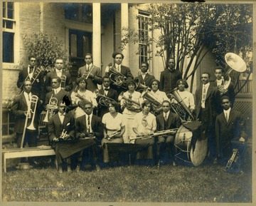 Storer College band members with instruments.