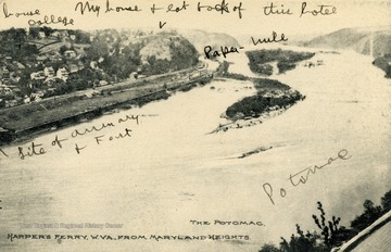 Looking north-west up the Potomac River, several landmarks and structure such as Storer College, the Armory and the Hill Top Hotel can be seen.(From postcard collection legacy system.)