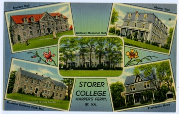Five of the college buildings on Storer College campus are depicted on this post card.  Buildings include: Brackett Hall, Permelia Eastman Cook Hall, Mosher Hall, Anthony Memorial Hall, and the President's House.