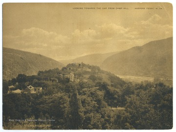 View from Camp Hill, Harpers Ferry, W. Va. showing several buildings on the Storer College campus including 1. Lockwood, 2. Brackett, 3. McDowell Shenandoah (?), 4. Franklin (Cook) House, and  5. Storer College Gym.